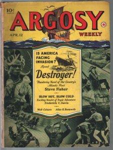Argosy 4/12/1941-pre WWII-Zorro movie-pulp thrills-Walt Coburn-VG