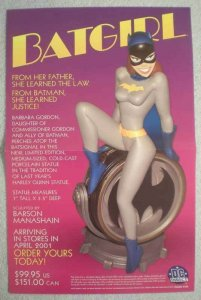 BATGIRL STATUE Promo poster, 11x17, 2001, Unused, more Promos in store