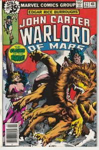 John Carter Warlord of Mars(Marvel) # 21 The Warlord targeted by Assassins !
