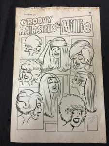 Millie the Model #185 Page 7 Original Comic Art 1970 Goldberg Groovy Hair Styles