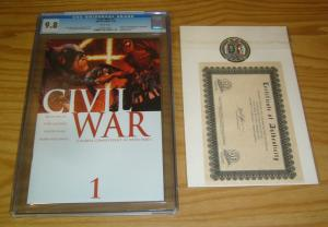 Civil War #1 CGC 9.8 mark millar - marvel's avengers - w/dynamic forces COA