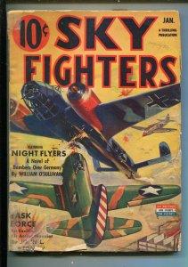 SKY FIGHTERS 1/1943-AIR WAR PULP-THRILLS-WWII-GERMAN BOMBERS-US PLANES-vg minus