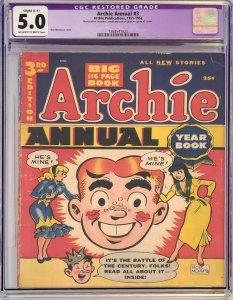Golden Age 1952 Archie Annual #3 Bob Montana Cover CGC 5.0 Restored C1 Slight