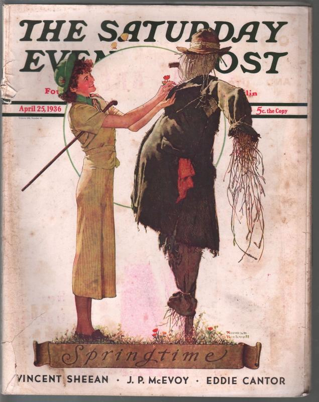 Saturday Evening Post  4/25/1936-Norman Rockwell cover-complete magazine-G