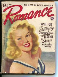 Romance 9/1946-Popular-pin-up girl portrait cover-pulp romance--VF