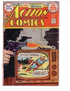 ACTION COMICS #442 1974-SUPERMAN-DC COMICS TV SET COVER G
