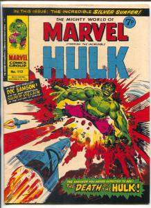 Mighty World Of Marvel #113 1974- Hulk- Silver Surfer VG/F