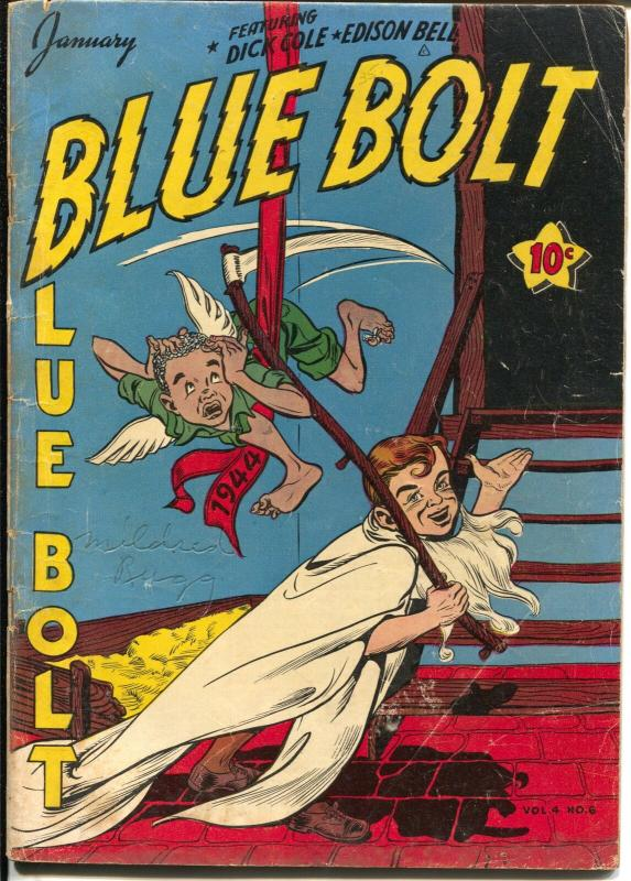 Blue Bolt Vol.4 #6 1944-Novelty-African American as baby new year-WWII-VG