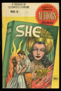 SHE-FAMOUS AUTHORS ILLUSTRATED COMIC #3 H RIDER HAGGARD FN+