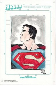 Superman ORIGINAL COLORED SKETCH by Jeremy Haun FX 2008 BLANK NM