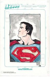 Superman ORIGINAL COLORED SKETCH by Jeremy Haun FX 2008 BLANK NM