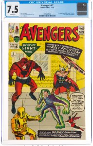 The Avengers #2 (Marvel, 1963) CGC VF- 7.5 White pages. Hulk leaves the Aveng...
