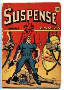 SUSPENSE COMICS #5 1944-LB COLE-HORROR-CRIME-GREY MASK STORY-LOW GRADE COPY
