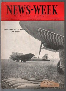 Newsweek 7/11/1936-Policemen Of The Pacific aviation cover-war map-VG