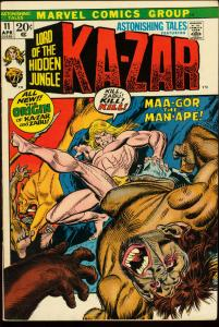 ASTONISHING TALES #11-KA-ZAR-MARVEL VG/FN