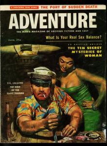 Adventure Pulp Magazine June 1957- Poker cover- Cheesecake- VG-