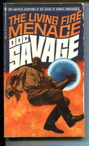 DOC SAVAGE-THE LIVING FIRE MENACE-#61-ROBESON-VG-JAMES BAMA COVER-1ST EDITION VG