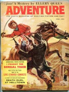 Adventure Magazine February 1959- Ellery Queen- Bengal Tiger- pulp VG