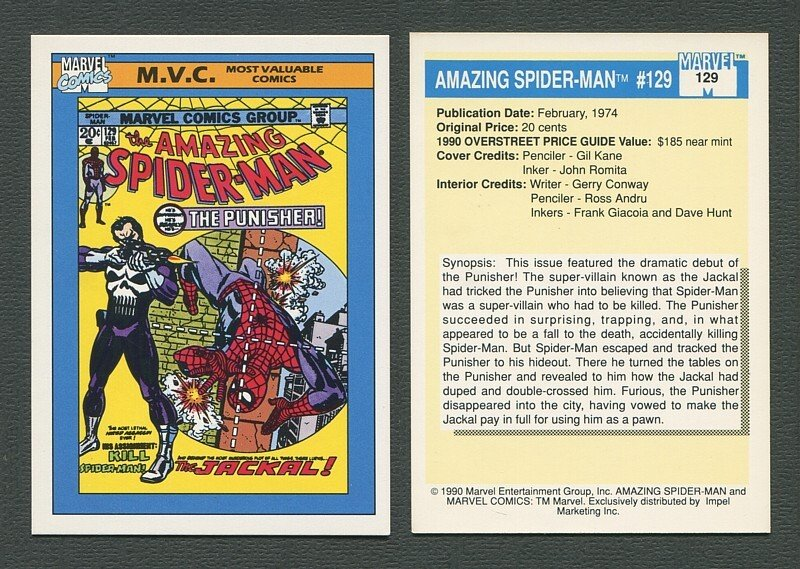 1990 Marvel Comics Card  #129 (Amazing Spiderman #129 Cover) NM-MT