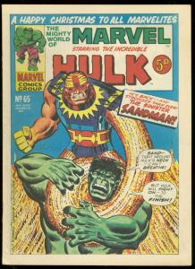 MIGHTY WORLD OF MARVEL #65 1973-HULK COVER-BRITISH VG