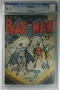 Batman #10~1943 DC~CGC 4.5 (VG+)~Catwoman App. in New Costume