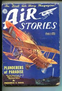 AIR STORIES-06/1929-EARLY AVIATION PULP-CLASSIC COVER-vg