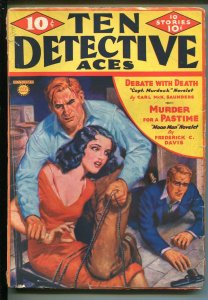 Ten Detective Aces 11/1936-Ace-spicy babe bound to chair-pulp-Moon Man-G MINUS