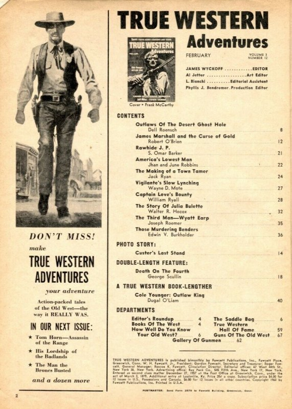 True Western Adventures February 1960- Cole Younger- Custer's Last Stand