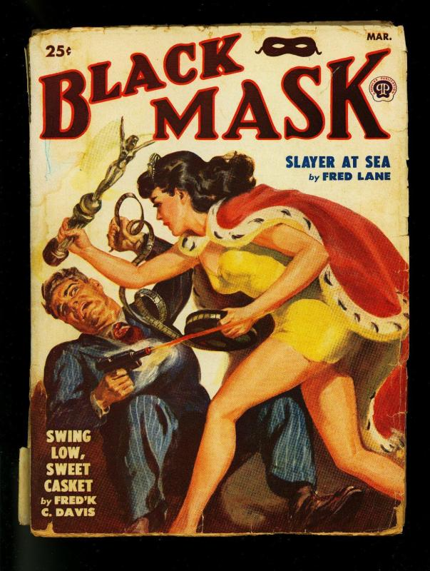 Black Mask Pulp March 1950- Norman Saunders cover- Fred C Davis- G-