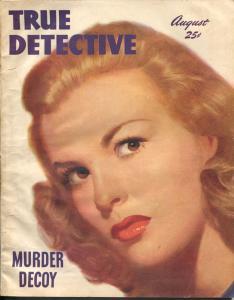 True Detective 8/1947-TD-Richard Cardiff spicy portrait cover-crime pulp-VG-