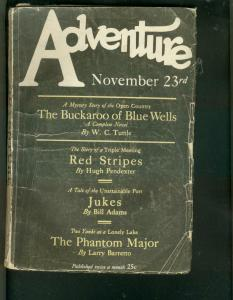 ADVENTURE PULP- 11/23/1926-WC TUTTLE & HUGH PENDEXTER VG
