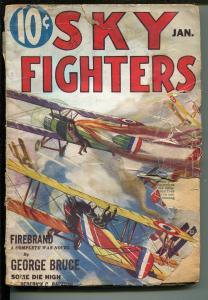 SKY FIGHTERS 01/1933-AIR WAR PULPS-WWI-FIREBRAND-GEORGE BRUCE-pr/fr