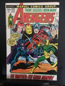 The Avengers #102 (1972) high-grade Grim Reaper/Vision cover key! VF Wow!