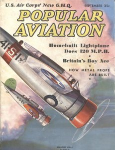 Popular Aviation SEPT/1937-Herman R. Bollin PULP STYLE COVER ART-BIRTHPLACE OF P