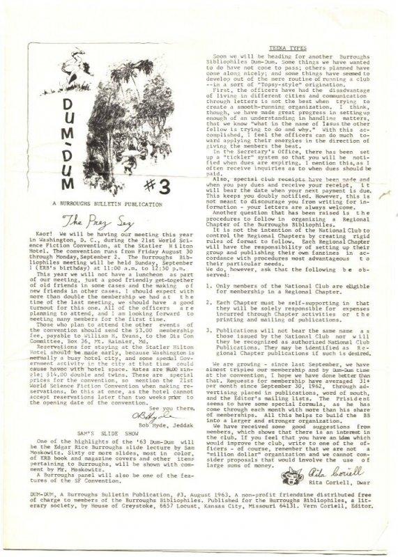 DUM-DUM THIRD ISSUE AUG 1963-EDGAR RICE BURROUGHS-TARZAN-FANZINE--RARE