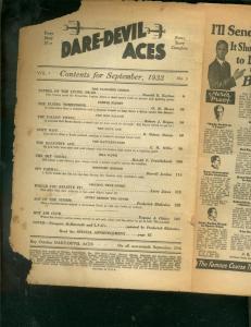 DARE-DEVIL ACES PULP- SEPT 1933-BARGAIN-RED FALCON-WW I P