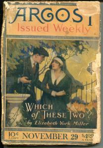 ARGOSY 11-29/1919-MUNSEY-CHARLES ALDEN SELTZER-LORING BRENT-PULP FICTION-fr