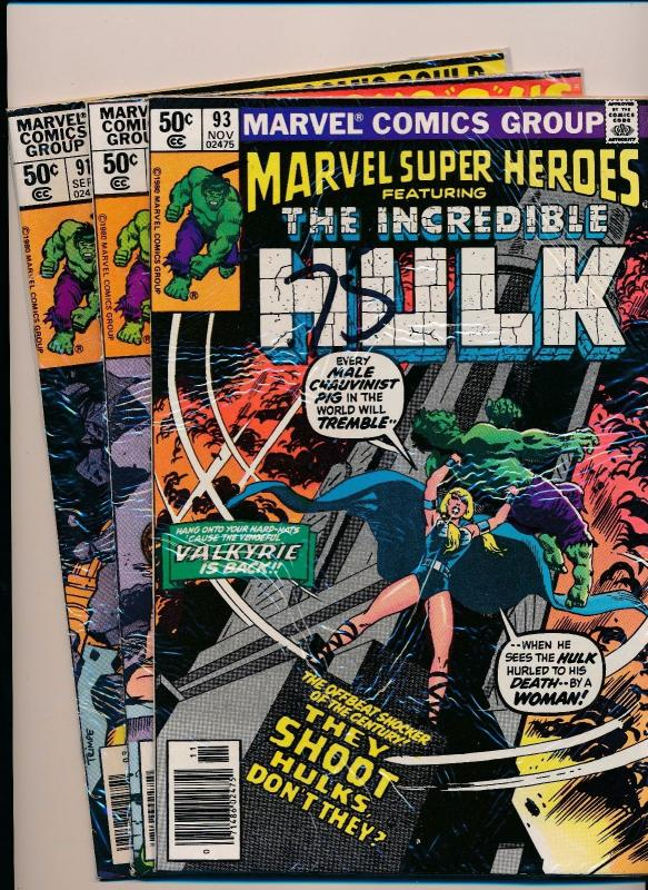 MARVEL Super Heroes ft. THE INCREDIBLE HULK #91/92/93 ~ VG (SRU577)