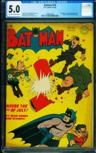 BATMAN #18 CGC 5.0-Hitler, Mussolini, Hirohito cover 1298462003