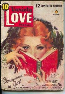 Variety Love Stories 2/1940-Kopland pin-up cover-Helen Burns-Phyllis Denarest-G/