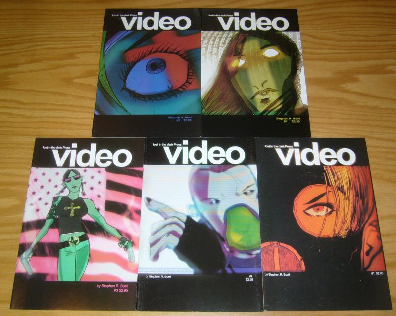 Video #1-5 VF/NM complete series - lost in the dark press - stephen r. buell set