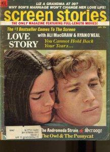 Screen Stories-Ali MacGraw-Ryan O'Neal-Arthur Hill-Kirk Douglas-Jan-1971