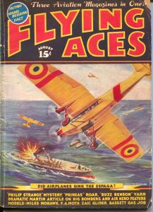 Flying Aces 8/1937-pulp-Philip Strange-Buss Benson-August Schomburg-G/VG