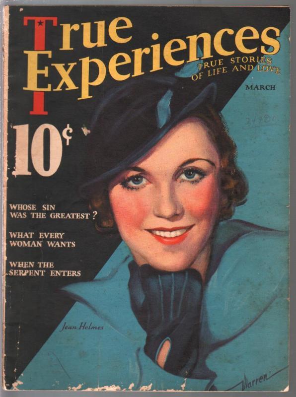 True Experinces 3/1933-Jean Helms cover by Georgia Warren-Janet Gaynor-VG