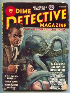 Dime Detective Pulp October 1944- octopus cover