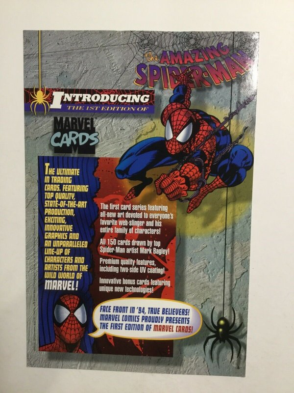 Amazing Spider-Man First 1st Edition Of Marvel Cards Sheet Near Mint 1994 Marvel