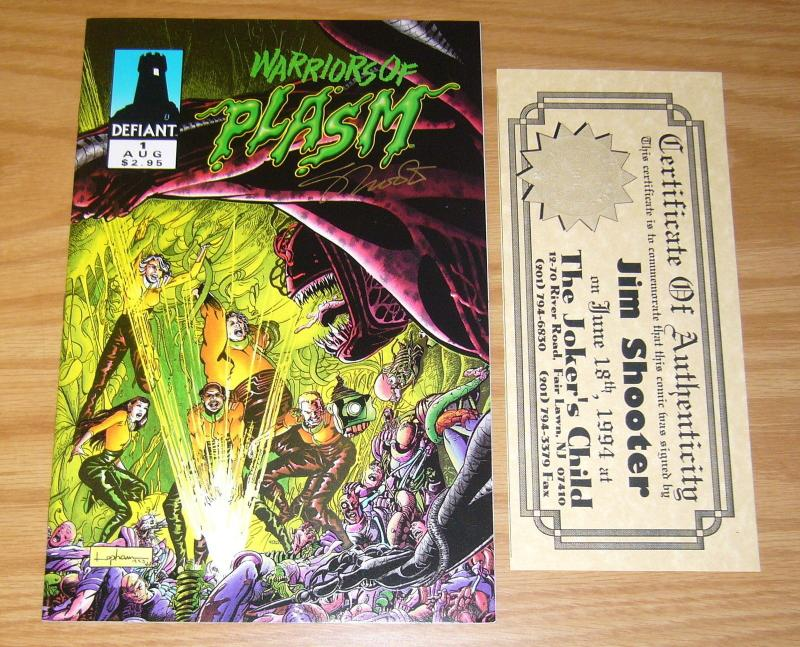 Warriors of Plasm #1 VF/NM signed by jim shooter with COA defiant comics 1993