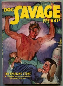 Doc Savage Pulp June 1942- Speaking Stone- Emery Clarke cover