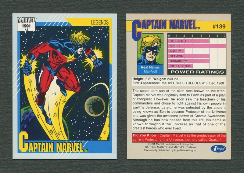 1991 Marvel Comics II  Card  #139 ( Captain Marvel)  MINT