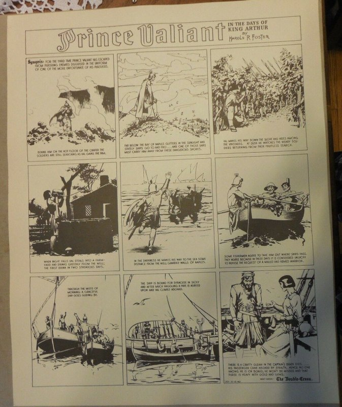 Prince Valiant by Hal Foster Syndicate Proof 12/15/1940  Size 16 x 20 inches